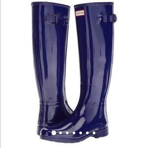 Navy hunter boots size 7 NWOT tall refined gloss